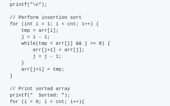 Howto: Code the Insertion Sort in the C Language + Insertion Sort Tutorial
